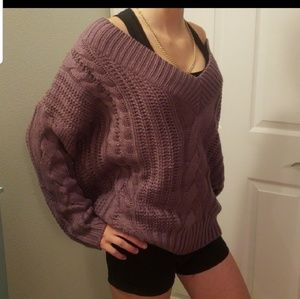 Double v sweater lilac cable knit